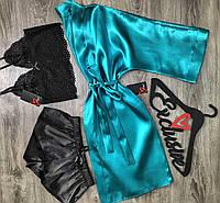 Халат+топ+шорты набор домашней одежды.