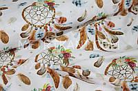 """Хлопковая ткань """"Ловцы снов с цветочками """" на белом фон   №1540"""