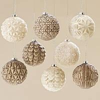 Набор новогодних шаров на елку 8 шт стекло d 8 см