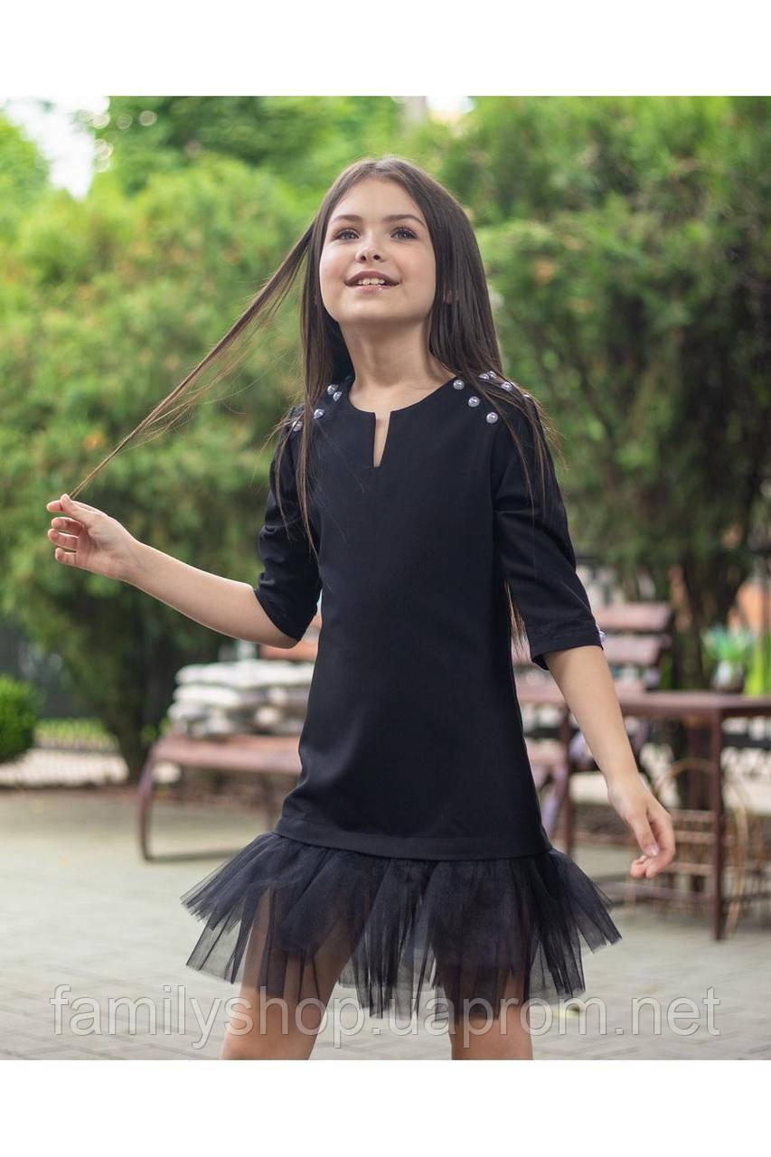 Стильное школьное платье черного цвета