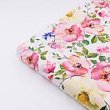 """Ткань хлопковая """"Цветущая яблоня"""" розово-кремовая на белом №2293а, фото 4"""