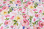 """Ткань хлопковая """"Цветущая яблоня"""" розово-кремовая на белом №2293а, фото 8"""