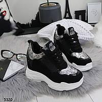 Сникерсы женские черные кроссовки на платформе