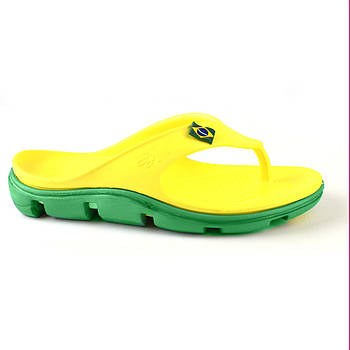 Яркие легкие вьетнамки от JA из пены ЭВА, р. 36, 38, 40. Желтые с зеленым шлепанцы.
