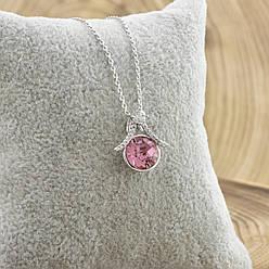 Набор с кристаллами Swarovski  87086 кулон 16*15 мм + цепочка 40+5 см, цвет розовый, позолота БЗ