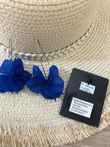 Серьги цветок синие женская итальянская бижутерия, фото 2