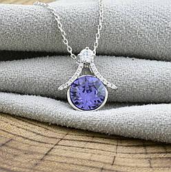 Набор с кристаллами Swarovski  87086 кулон 16*15 мм + цепочка 40+5 см, цвет фиолетовый, позолота БЗ