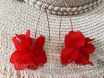 Серьги цветок красные женская итальянская бижутерия, фото 2