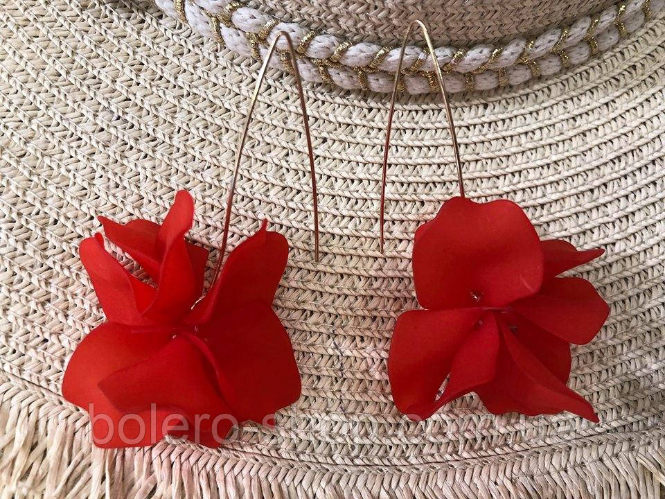 Серьги цветок красные женская итальянская бижутерия