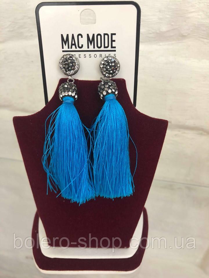 Серьги висячие с камушками голубыми кистями  Mac Mode женская итальянская бижутерия