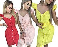 Летнее красивое платье с рюшами на рукавах /разные цвета, 42-46, ft-1037/