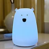 Силиконовый ночник «Мишка белый» 7 цветов 3DTOYSLAMP, фото 2