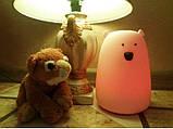 Силиконовый ночник «Мишка белый» 7 цветов 3DTOYSLAMP, фото 3