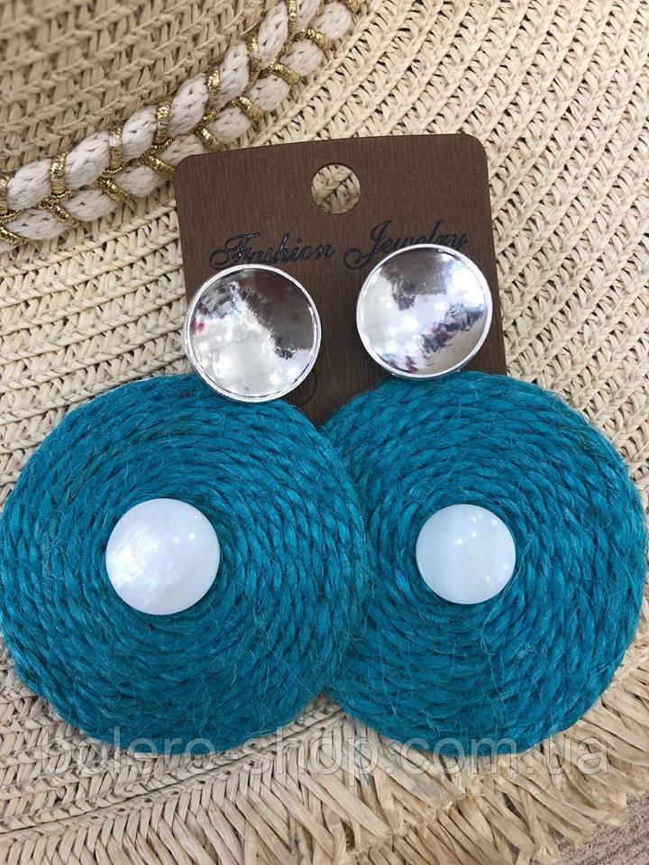 Серьги подвески голубые диски  женская итальянская бижутерия
