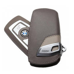 Оригинальный кожаный чехол для ключа BMW Leather Key Case Modern Line, Beige-Brown (82292219914)