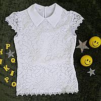 Блуза на девочку, короткий рукав, р. 128-146, белый, фото 1