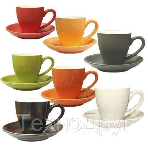 Чашка с блюдцем цветная Snt 13652