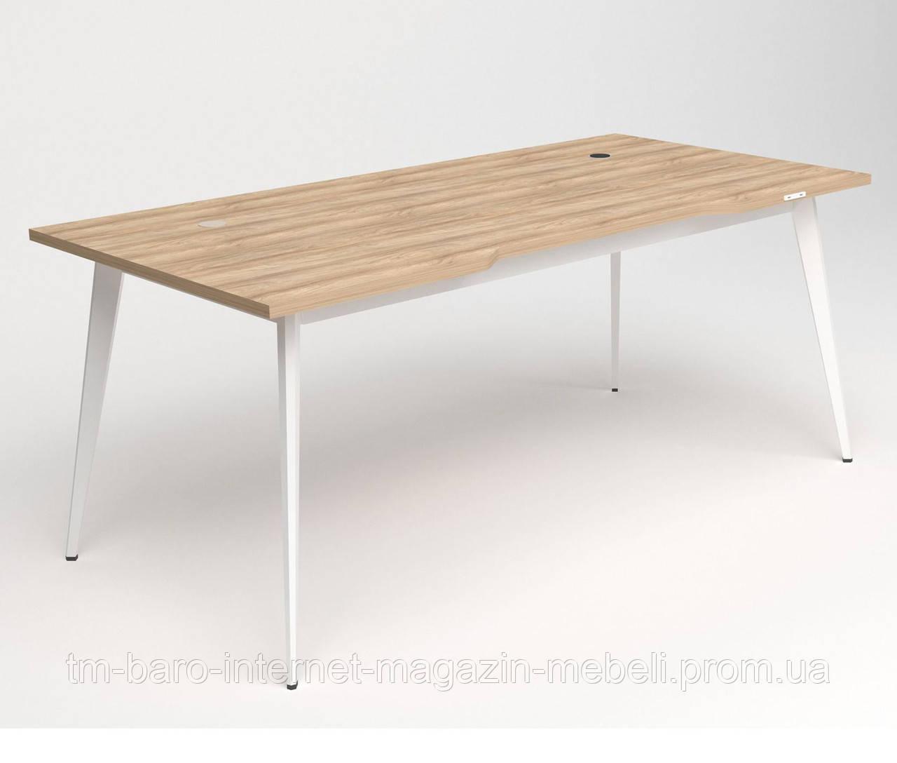 Стол+USB Delta DL-107 (1790х900х750мм) Блэквуд Ячменный/Каркас белый