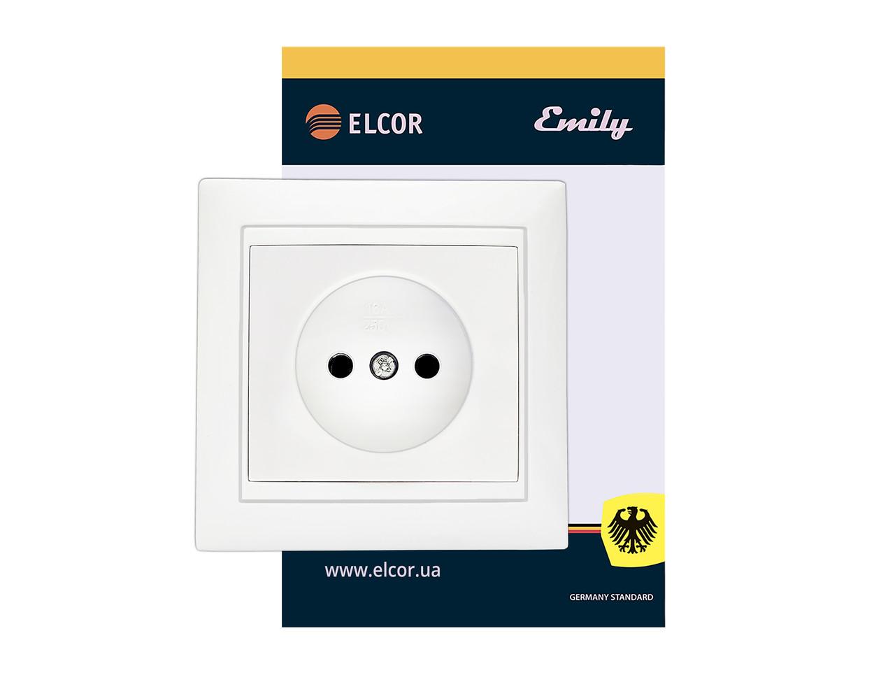 Розетка одинарная без заземления внутрення ELCOR Emily 9215 белая (211573)