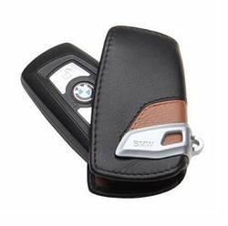 Оригинальный кожаный чехол для ключа BMW Leather Key Case Luxury Line Brown Black (82292219917)