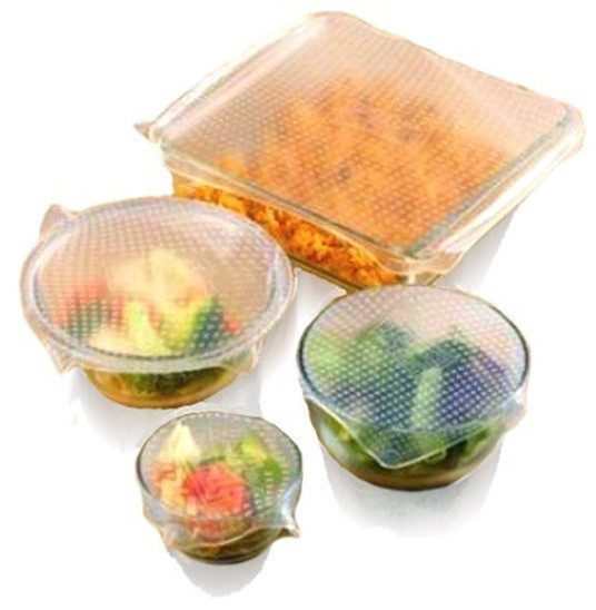 Набор универсальных крышек для хранения продуктов Stretch and Fresh, силиконовые крышки для посуды