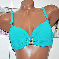 Размер 52! Модельный бирюзовый женский молодежный купальник, летний раздельный на завязках, украшение брошь.