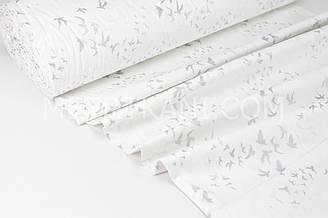 """Тканина ранфорс Туреччина 240 см """"Ластівки"""" (гліттер) срібло на білому № WH-1734-1"""