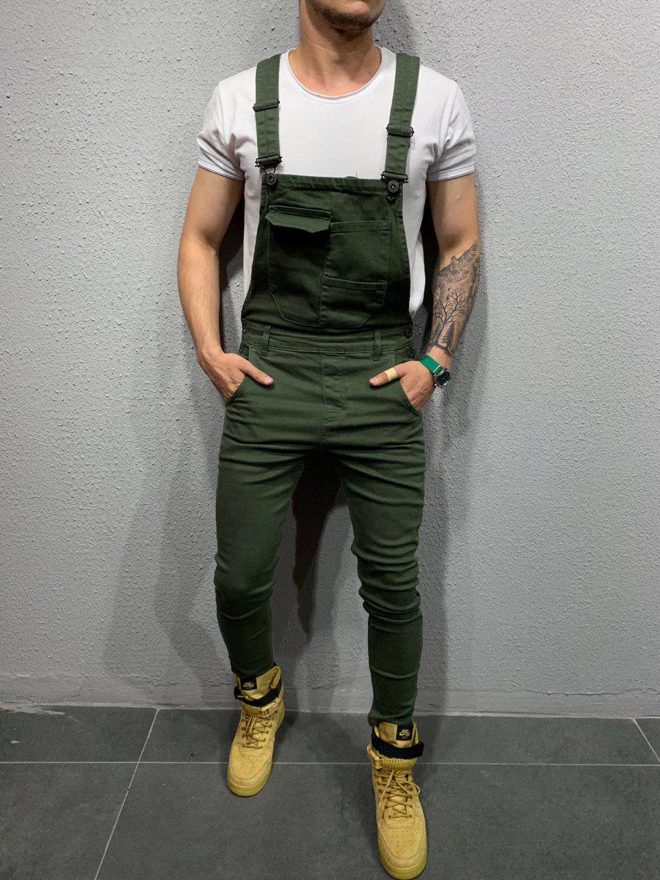 Мужской джинсовый комбинезон хаки ES001