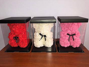 Мишка из роз 25 см (коробка в комплекте)