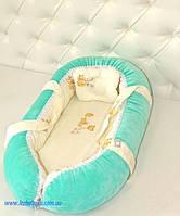 Люлька Переноска для новорожденных ТМ Лежебока Холлофайбер Бирюзовая с мишками