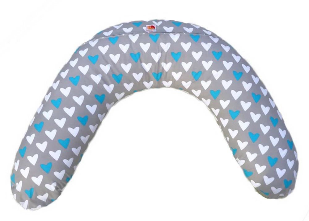 Подушка для беременных и кормления CLASSIC ТМ Лежебока Холлофайбер Голубые сердечки
