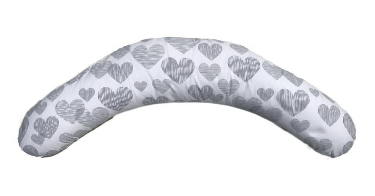 Подушка для беременных и кормления Relax ТМ Лежебока Холлофайбер Сердца на белом