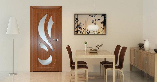 Міжкімнатні двері зі склом Неман ЛІАНА Н-55 горіх світлий