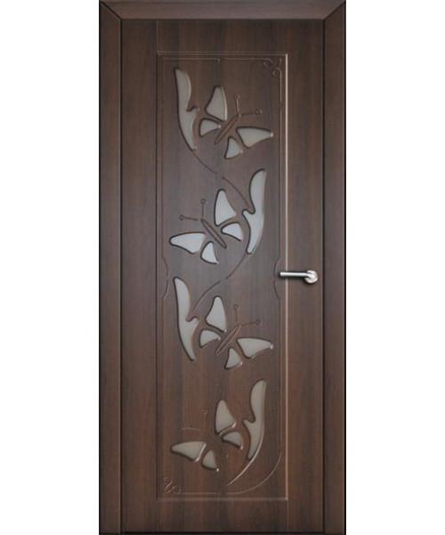 Міжкімнатні двері зі склом Неман МЕТЕЛИК Н-58 темний горіх