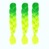 Канекалоновая коса омбре, светло-зеленый + желто-зеленый неон.