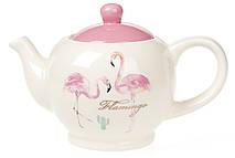 Чайник керамический 900мл, Розовый Фламинго с золотой надписью