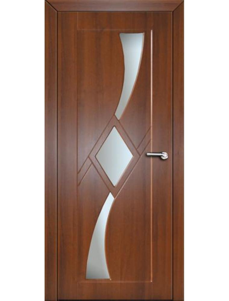 Міжкімнатні двері Неман зі склом СІРІУС Н-66 горіх темний