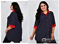 Стильная летняя женская туника-рубашка в горошек с 52 по 66 размер