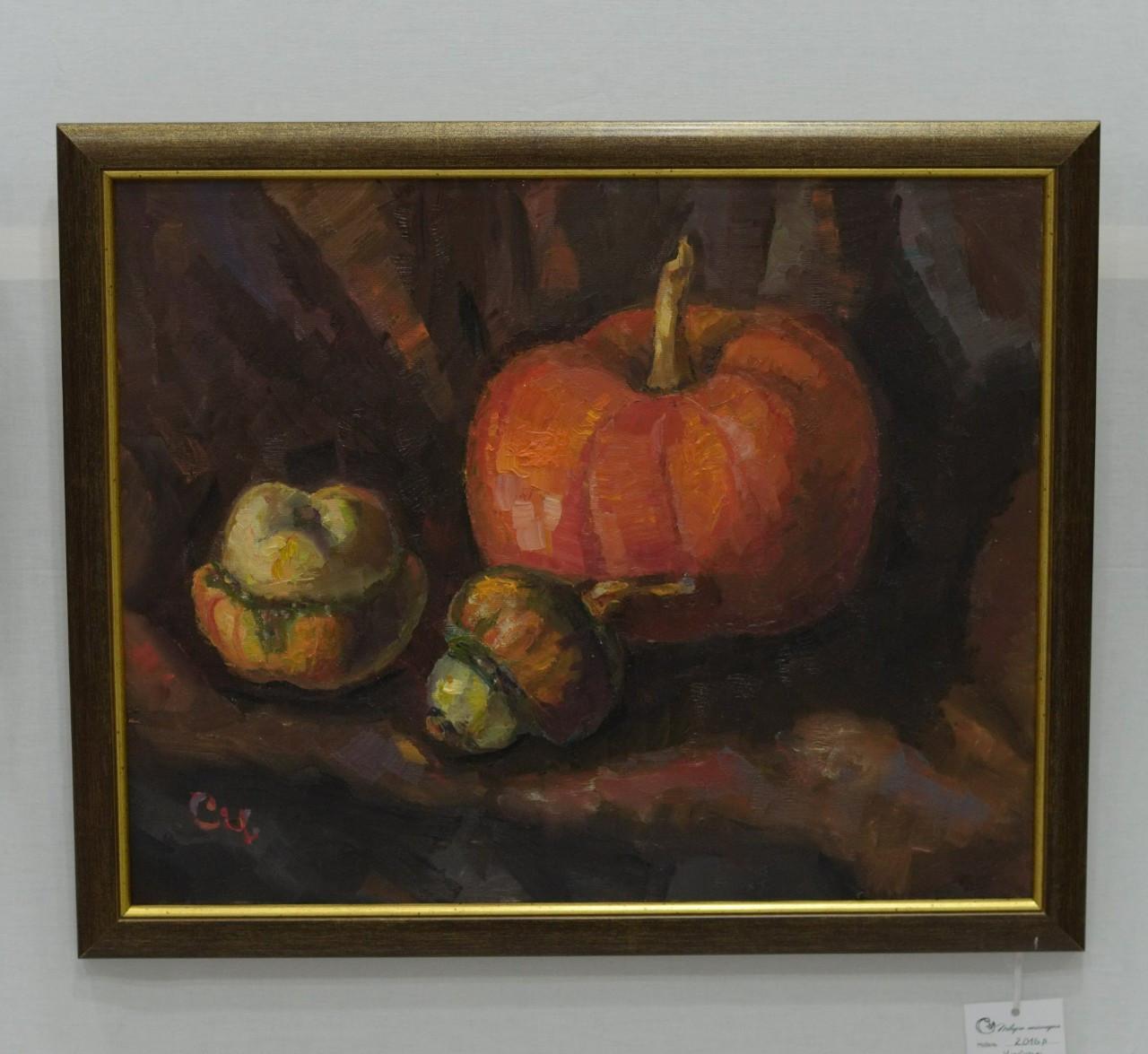 Картина маслом на кухню, в кафе чи ресторан,  натюрморт з гарбузами, олійний живопис