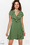 Короткое платье на запах с воланом зеленое, фото 2