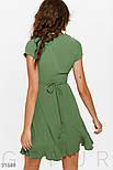 Короткое платье на запах с воланом зеленое, фото 3