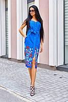 Синее платье футляр из льна длины миди с вышивкой и карманами (S/M, M/L)