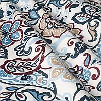 Декоративная ткань с мелким синим цветочным узором на белом Турция 84488v3