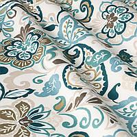 Декоративная ткань с мелким голубым цветочным узором на белом 180см 84487v2