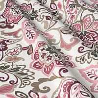 Декоративная ткань с мелким розовым цветочным узором на белом 180см 84486v1
