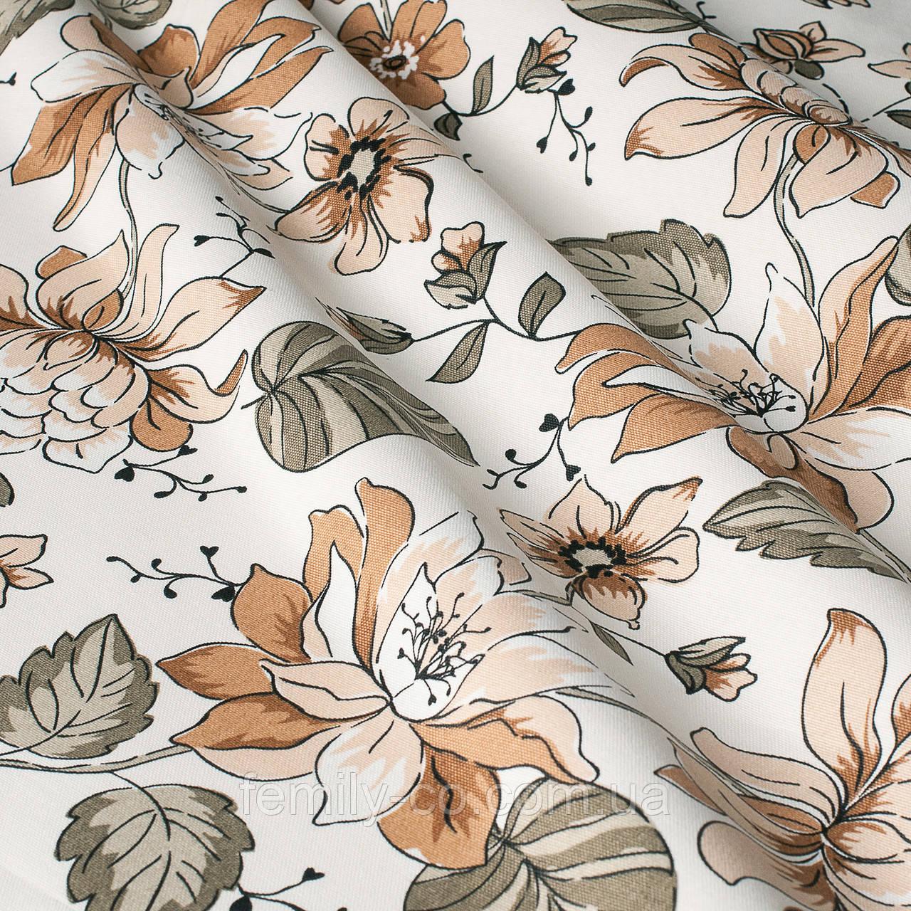 Декоративная ткань с мелкими оранжевыми цветами на белом турецкая 84491v3