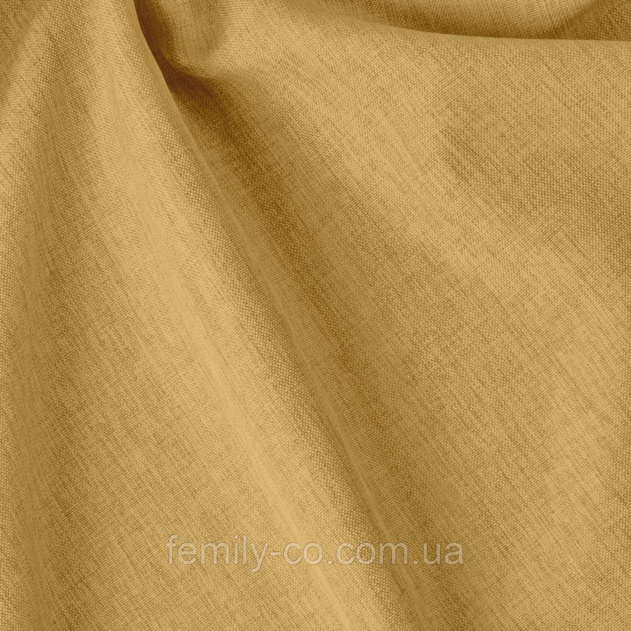 Декоративная однотонная ткань рогожка золотого цвета 300см 84451v8