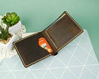 Чоловічий гаманець портмоне зі шкіри Ройовий коричневий