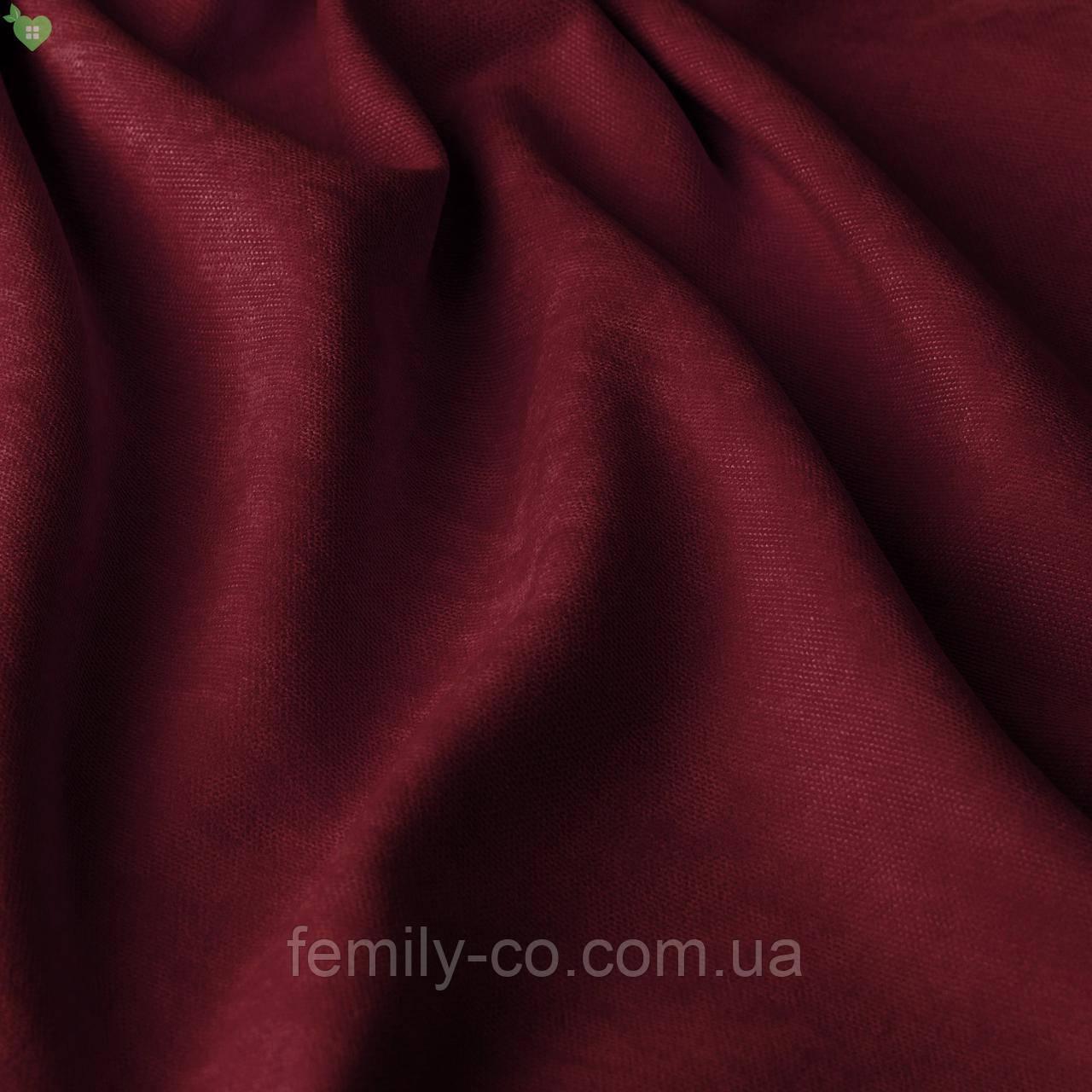 Однотонная декоративная ткань велюр бордовый 84355v9