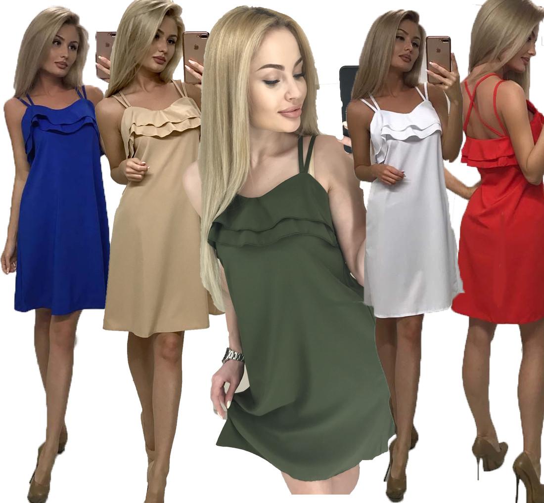 Летнее женское платье свободного кроя ft-1011 (42-46, разные цвета)
